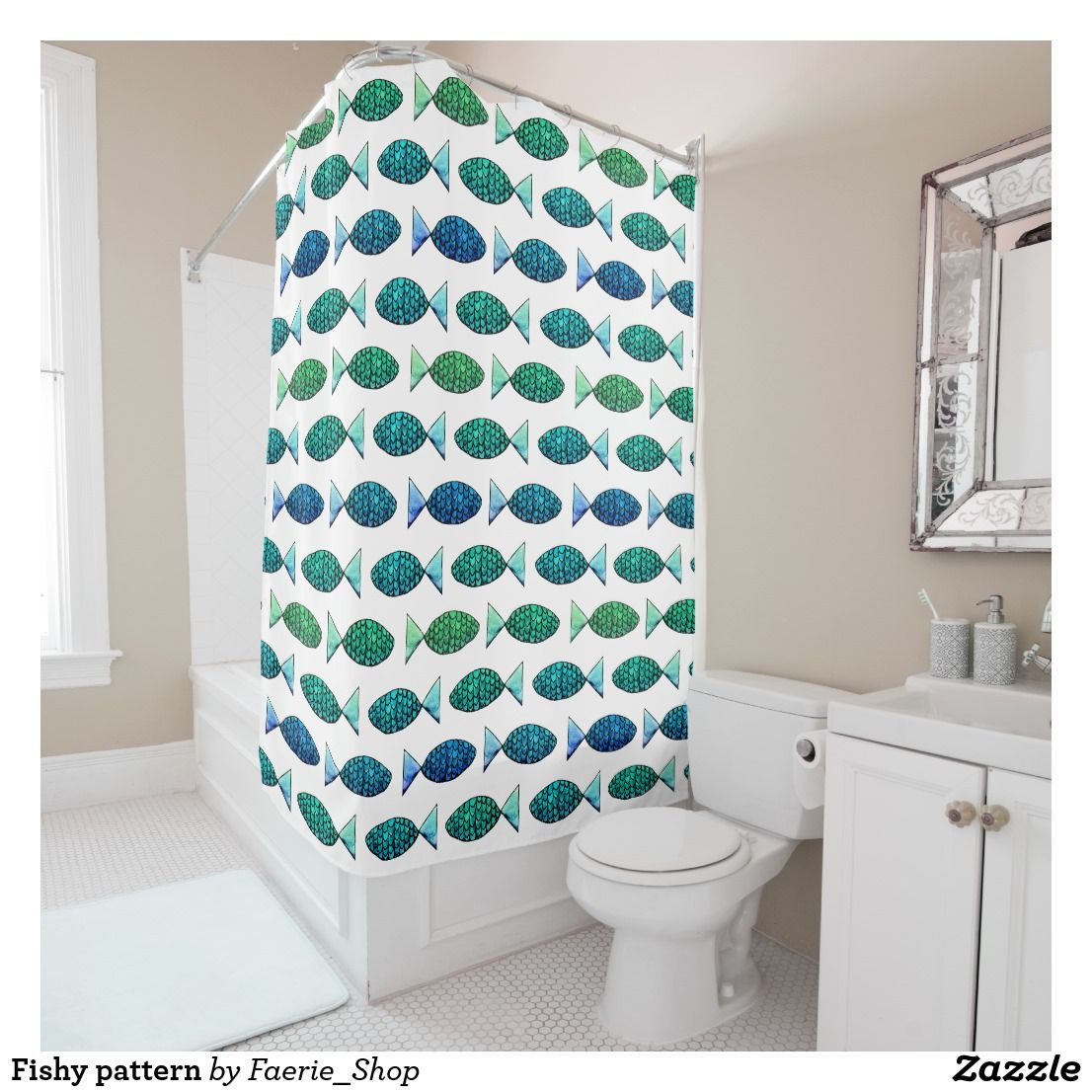 Fishy pattern shower curtain #watercolour #fish #colorful #blue ...