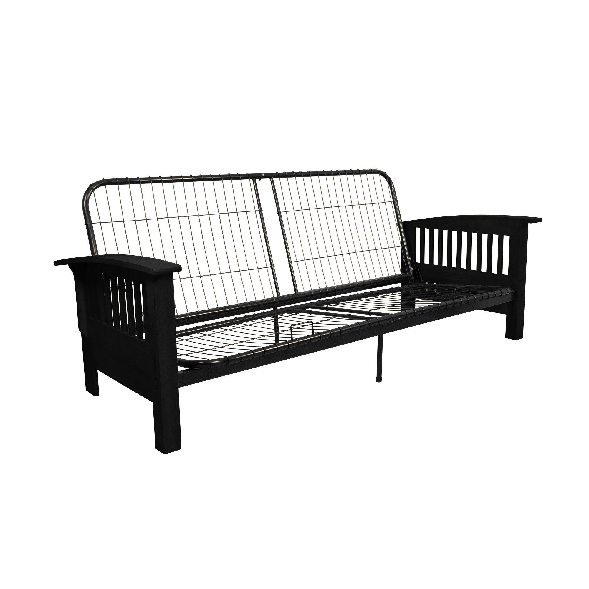 Stickley Futon Sofa Sleeper Bed Frame Black Finish Wood Arms
