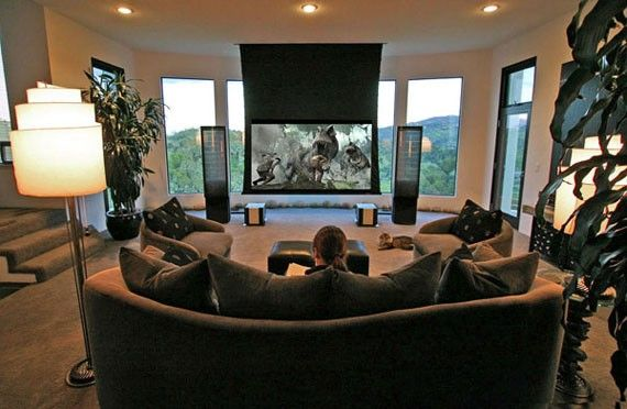 Interior Lovely Home Theater Room With Bright Lighting Ideas Glamorous Modern Design Grey Leather Sofa And