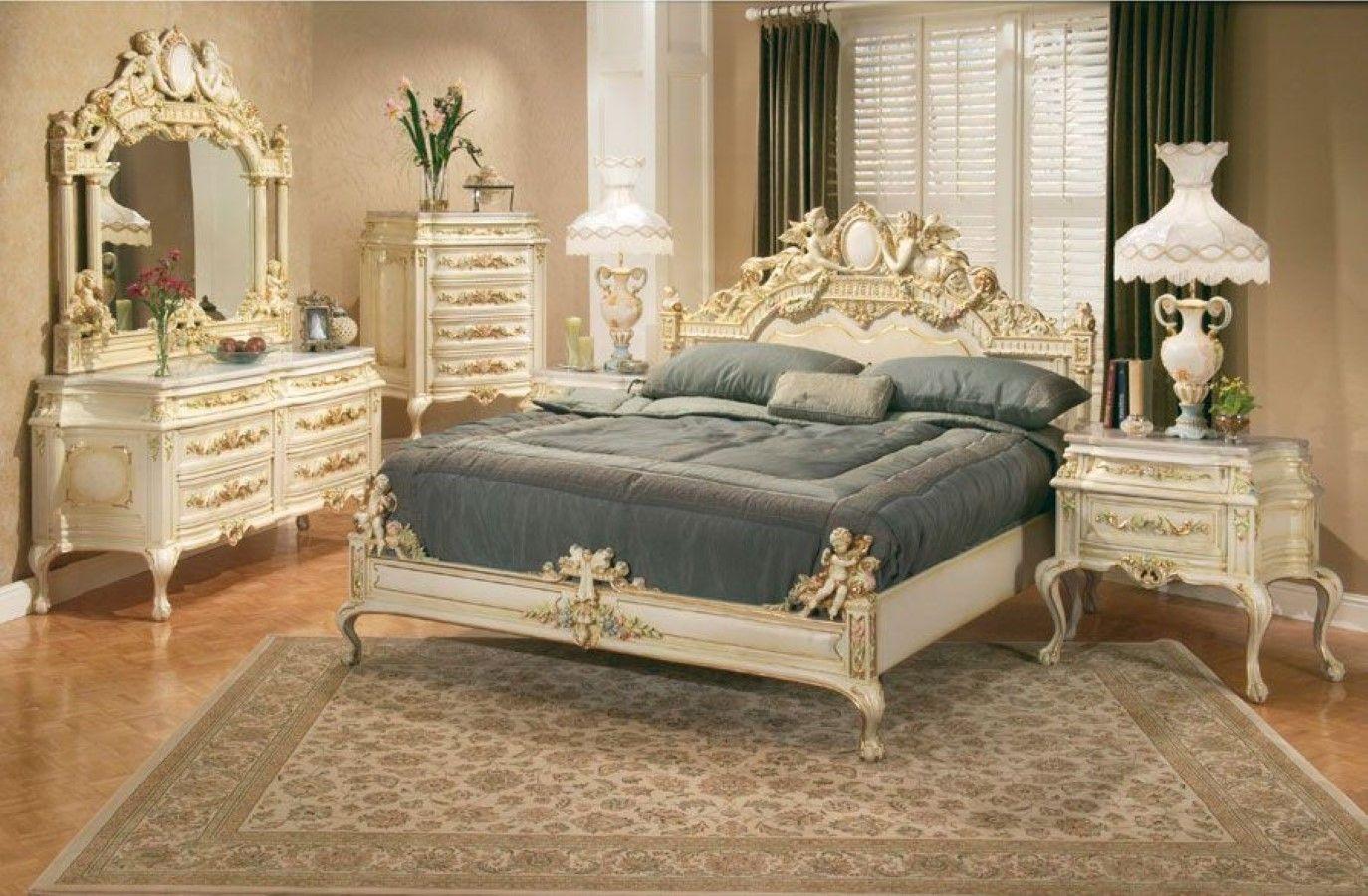 Luxury white carving furniture set design idea plus persian carpet