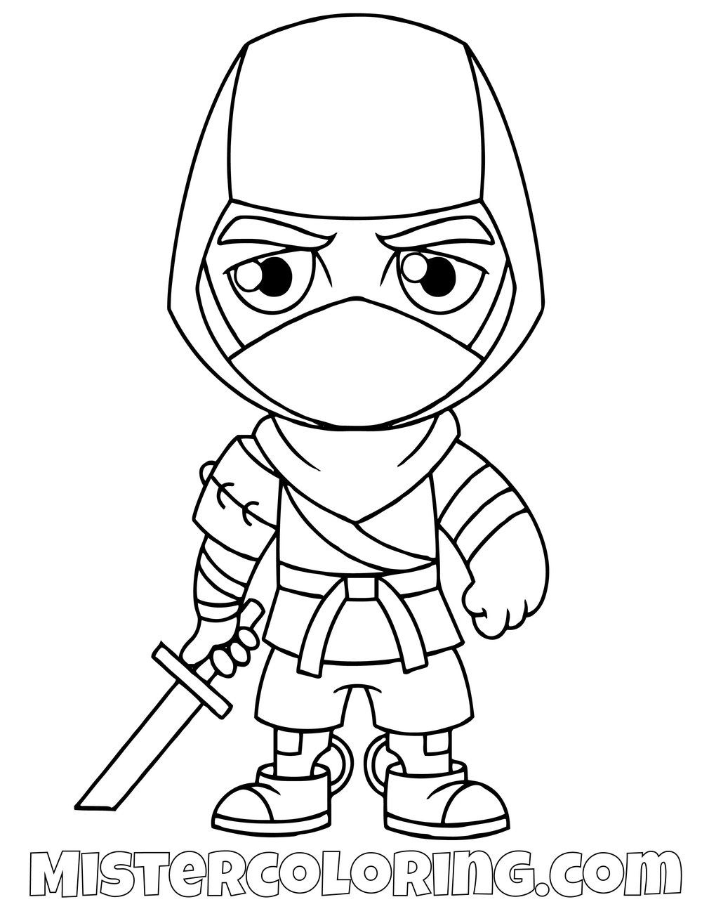 Free Ninja Chibi Fortnite Coloring Page For Kids Star Coloring