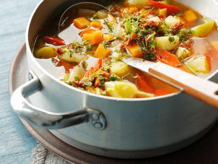 Kürbissuppe, Linsensuppe, Kartoffelsuppe, Rote Bete und vieles mehr.