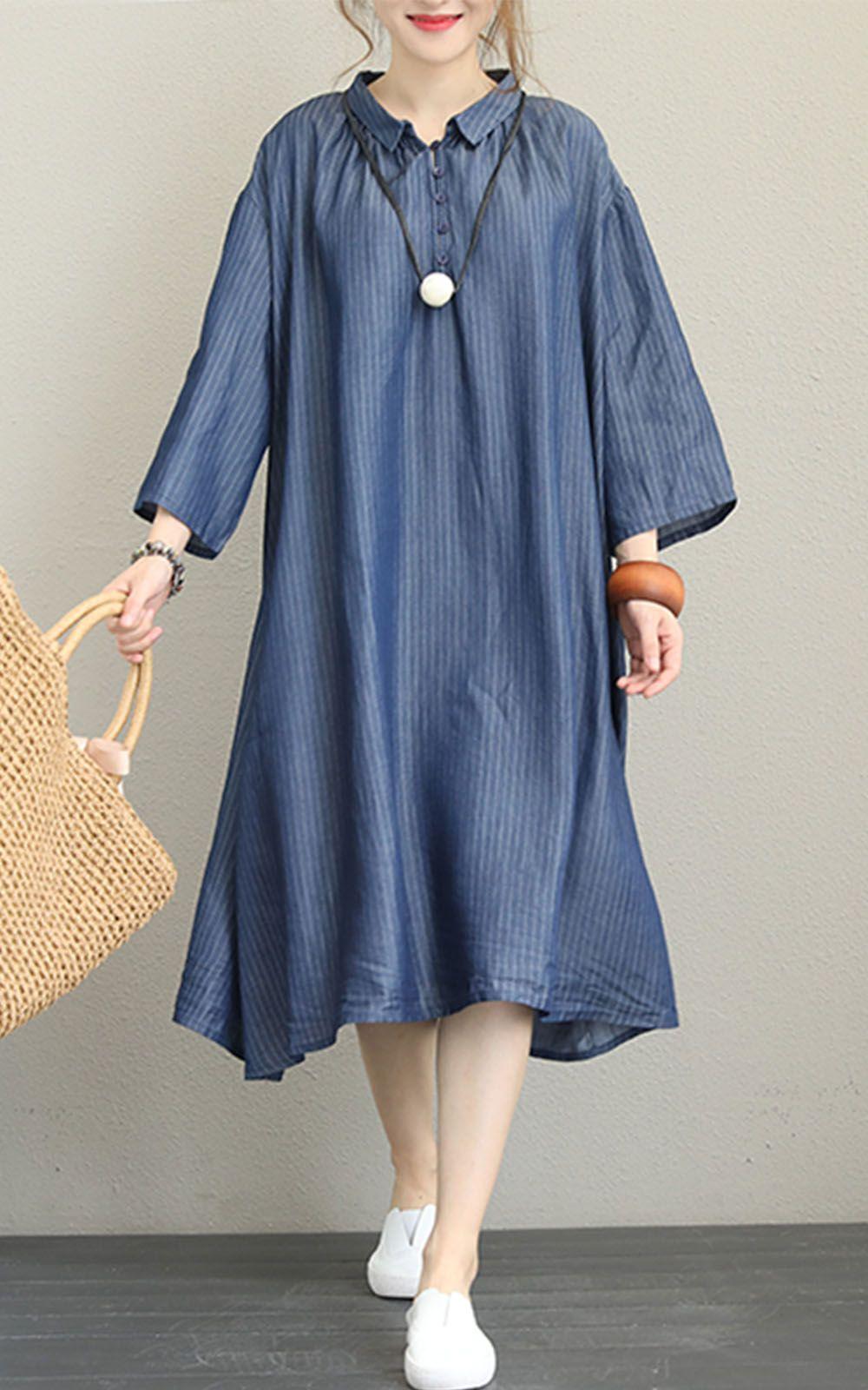 Polo neck loose stripe casual autumn dress dresses