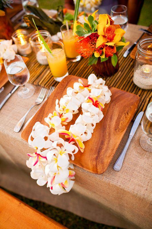 Modern Luau Hawaii Wedding By Moana Events Wood Plates