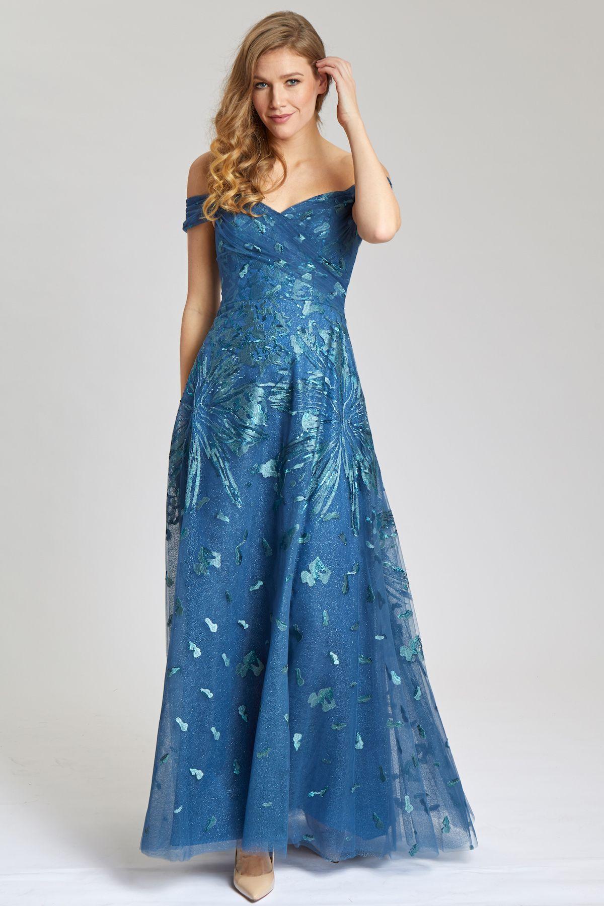 Beautiful blue printed motherofthebride dress teri