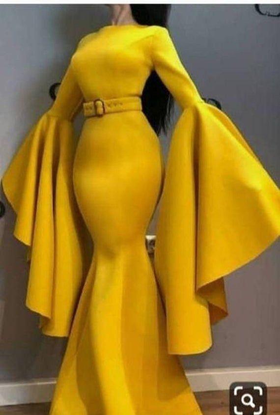 Yellow prom dress, African women clothing, wedding