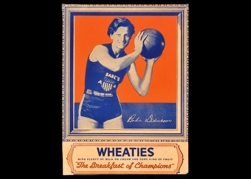 """Babe Didrikson (1935) in a box of Wheaties. Part of gallery on """"A Brief History of The Olympics, According to 13 Wheaties Boxes"""""""