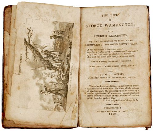 The first biography of Washington was written in 1800 by Mason Locke Weems (Parson Weems)