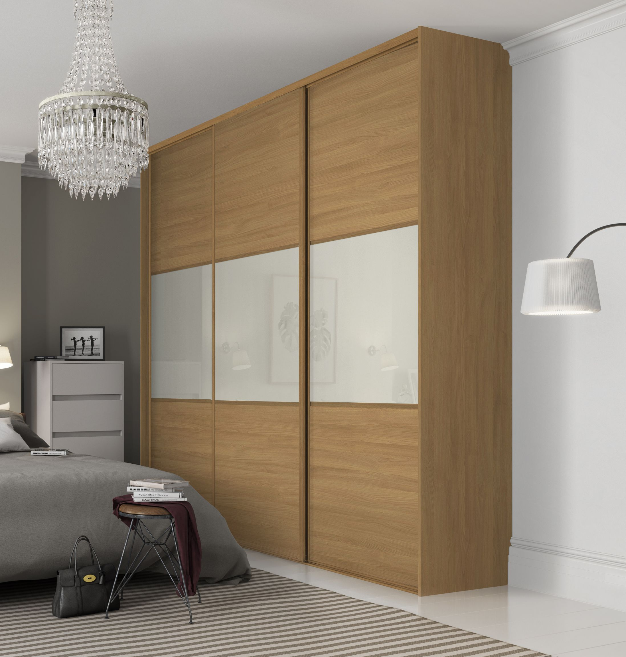 Beautiful classic three panel sliding wardrobe doors in Oak and Soft White finish with Oak