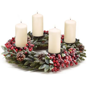 Snowy Pine Holiday Wreath Candleholder
