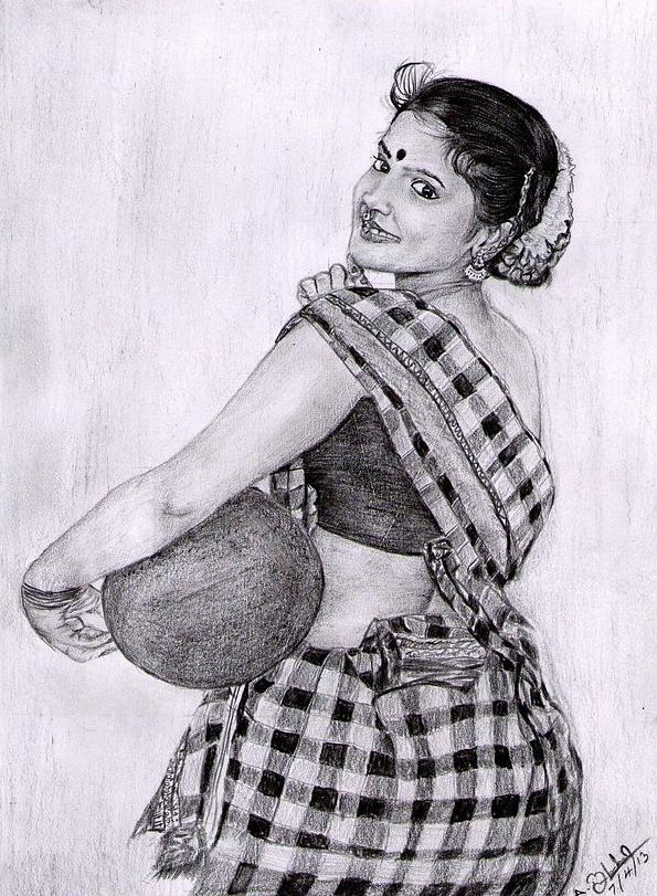 Indian traditional girl pencil drawing