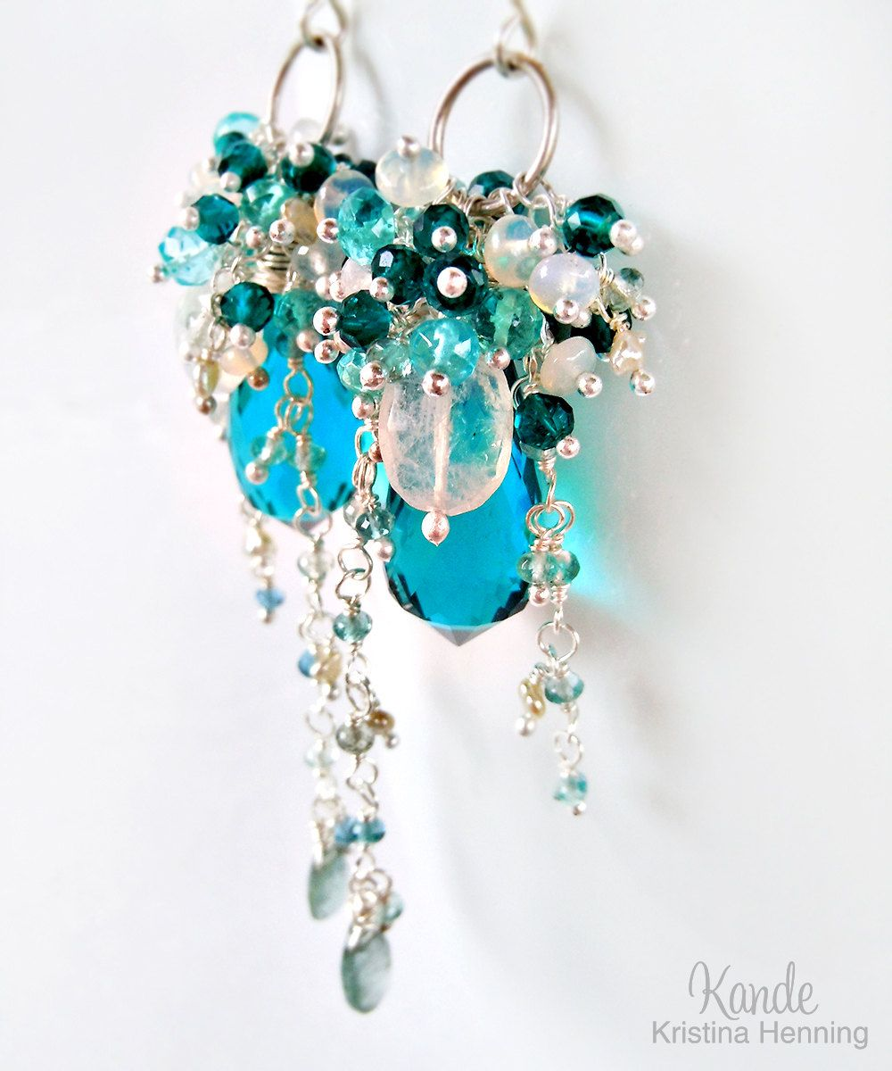 Teal Blue Chandelier Earrings Wire Wrapped Aquamarine Topaz ...