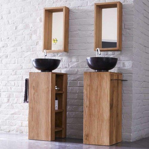 Photo of Bathroom furniture – teak furniture on the left