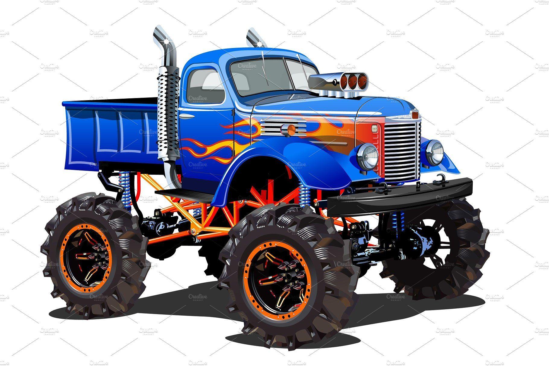 Cartoon Monster Truck Isolated On Monster Trucks Monster Truck Art Cartoon Monsters