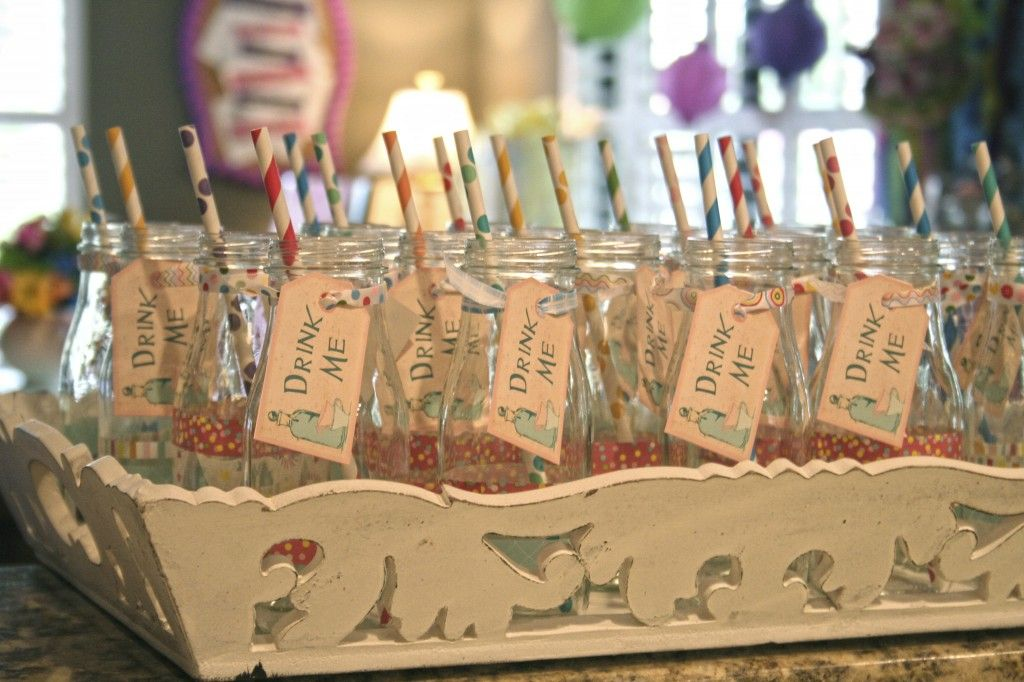 Alice In Wonderland Baby Shower   Beverage Bottles