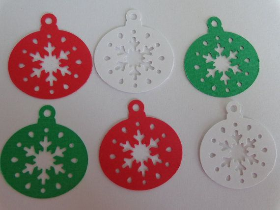 50 Christmas Ornaments Paper Punches Die Cuts Embellishments Confetti