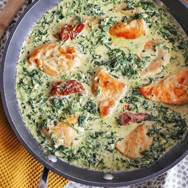 Poulet cr meux au parmesan pinards et tomates s ch es - Recette de cuisine quiche au poulet ...