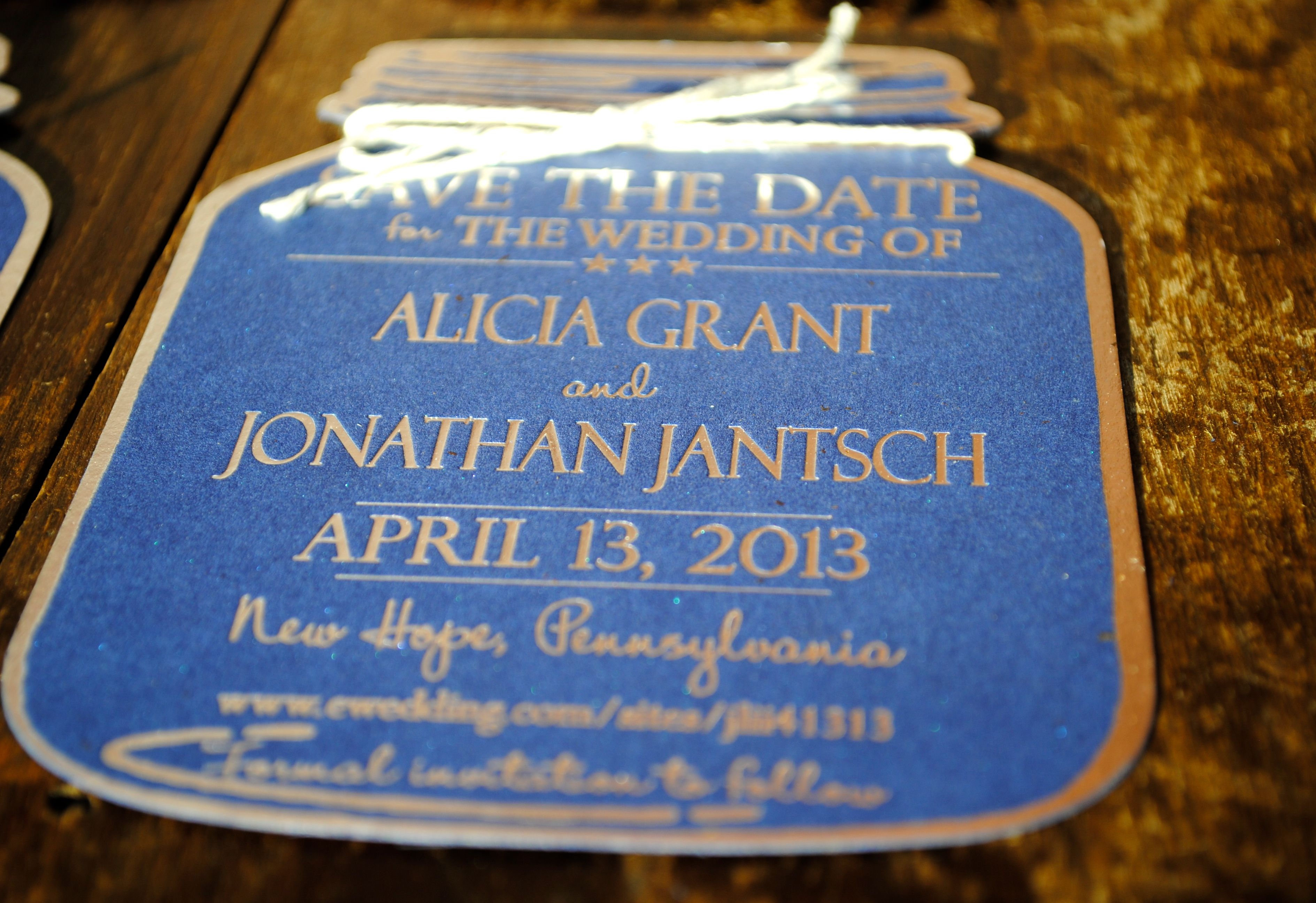 Foil Print Mason Jar Save the Date