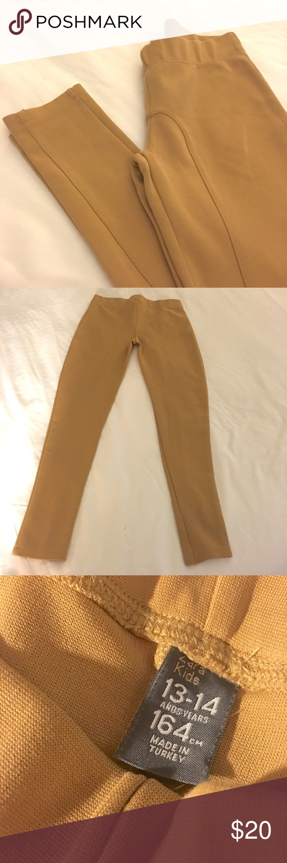 Zara Kids Camel Leggings / Riding Pants Gorgeous Zara Kids Camel Leggings / Riding Pants. High Quality!  Made in Turkey. Size 13-14 Girls. 164 cm. Perfect Fall Leggings with Tall Boots or Booties.  NWOT. Pristine condition. Zara Bottoms Leggings