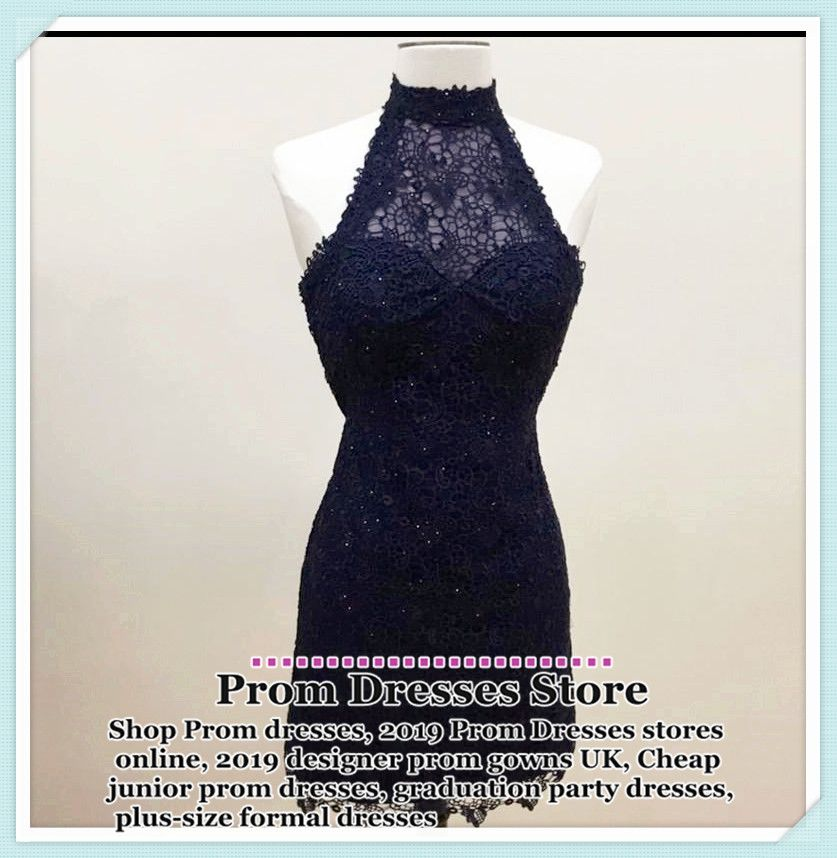 Formal Prom Dresses, halter prom short dress,lace homecoming dress,navy blue homecoming dress,elegant party dresses MT20185005 #navyblueshortdress