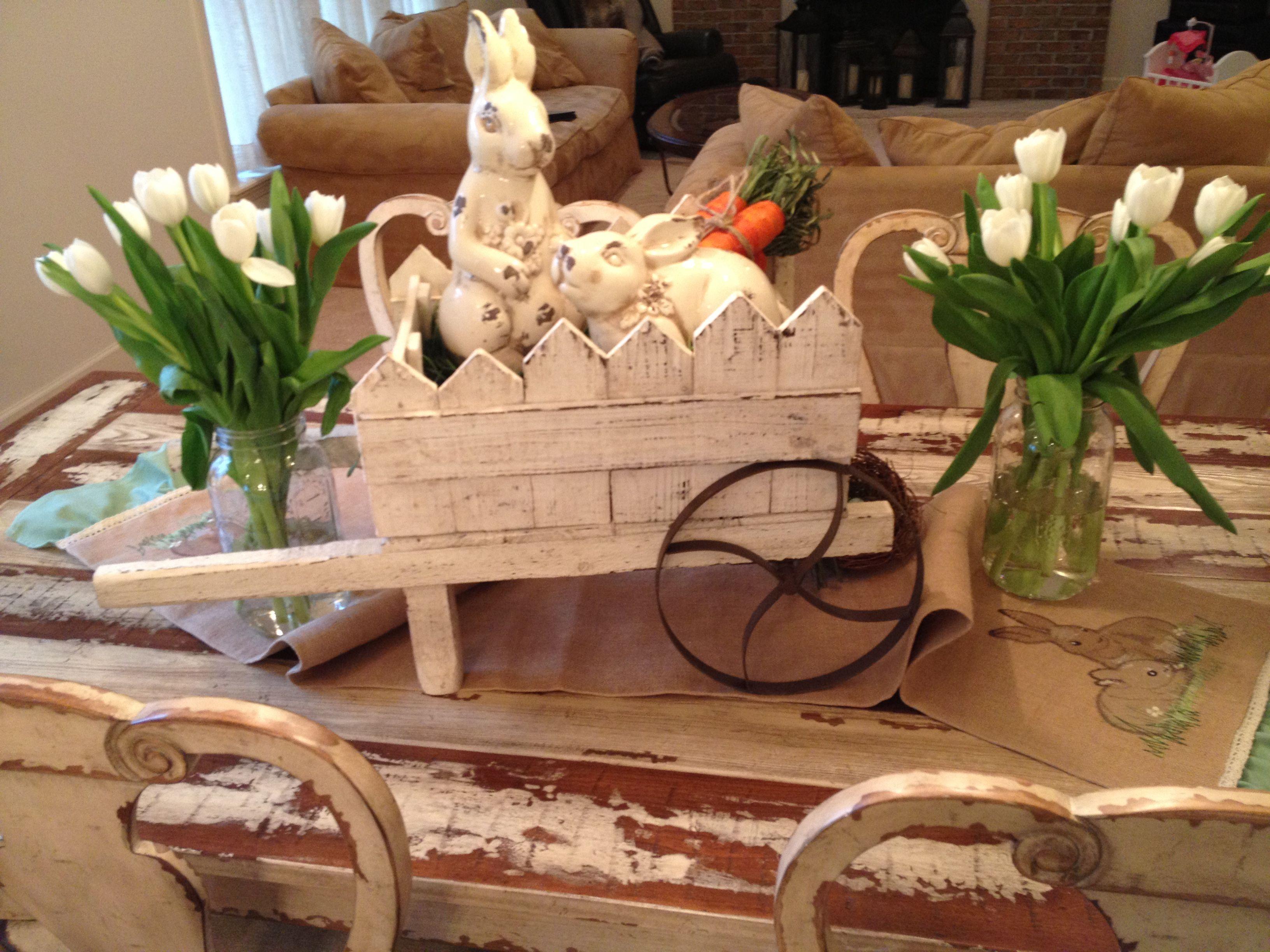 Easter Tablescape Wheelbarrow Ceramic Bunnies Straw Carrots Burlap Runner Hobby Lobby Fresh White Tulips Easter Tablescapes Ceramic Bunny Family Easter