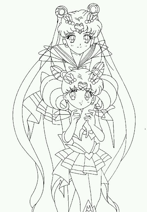 Super Sailor Moon and Super Sailor Chibi-Moon. Coloring Page ...