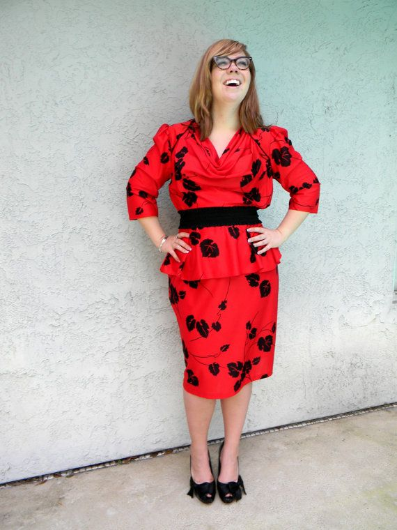 Plus Size Dress - Vintage 80s Peplum Ruffle Cowl Neck ...