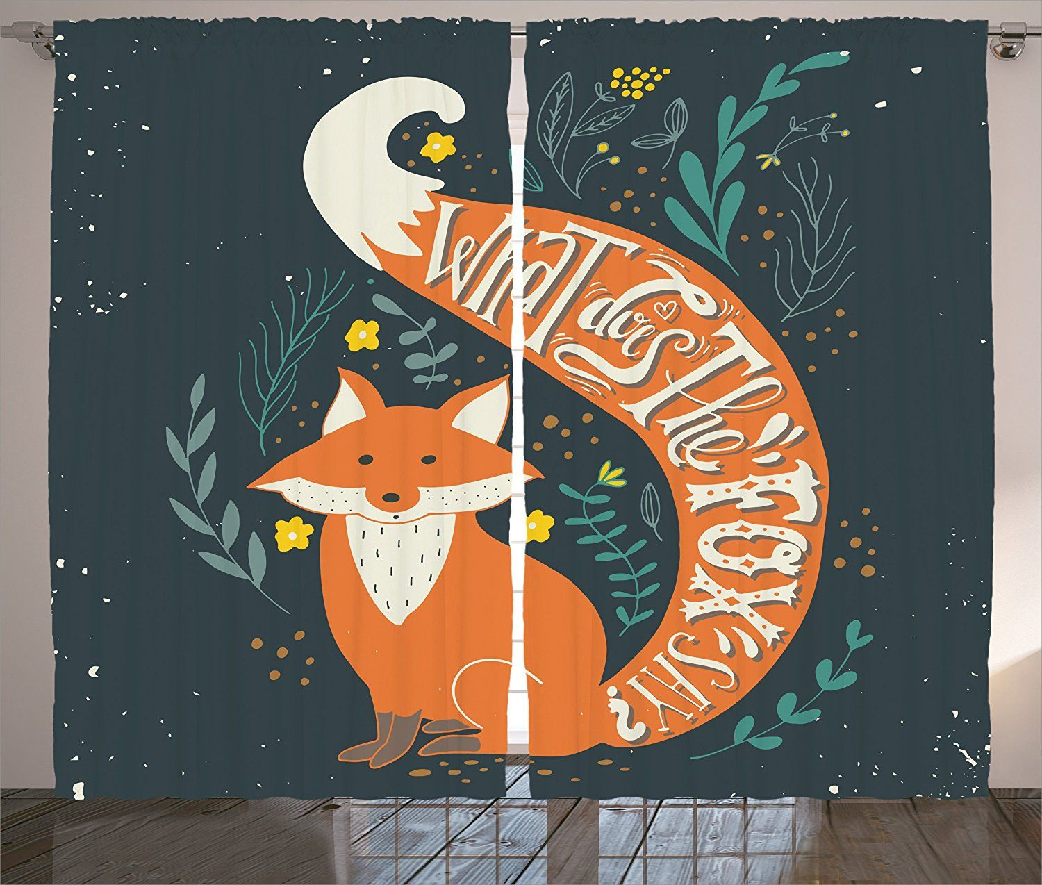 Vintage curtains by ambesonne uwhat does the fox sayu quote hipster