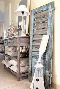 Vintage Shutter Decor Leaning On Walllove The Rustic Beach House