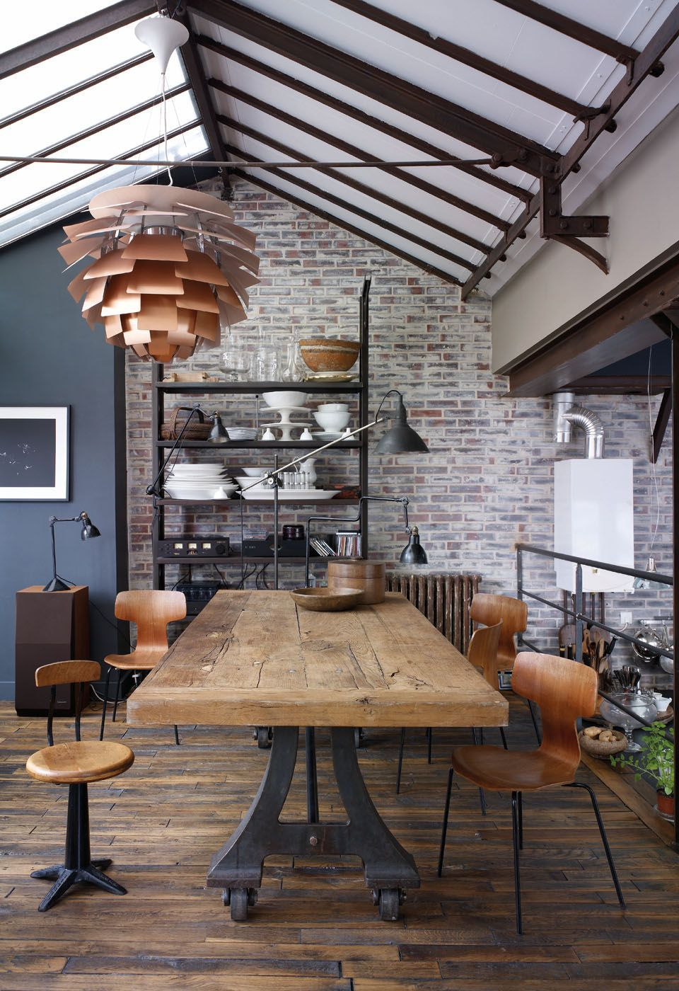 beautiful reclaimed wood dining table with metal legs and ...
