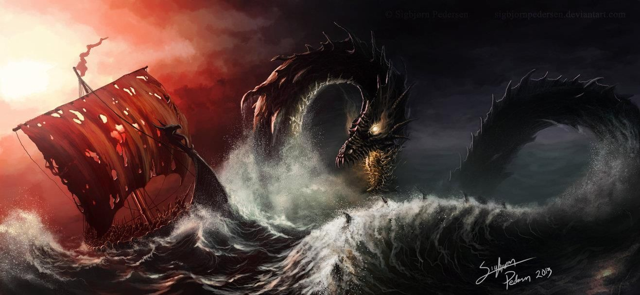 Image of Thor and Jormungand midgard serpent