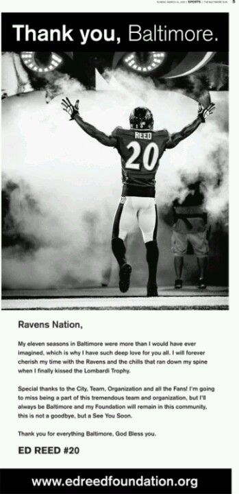 4ebfef63618 Ed Reed's full-page ad in Sunday's edition of The Baltimore Sun ...