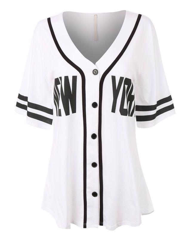 04acf42e5 Womens Oversized Button Down Short Sleeve Baseball Shirt | Clothing ...