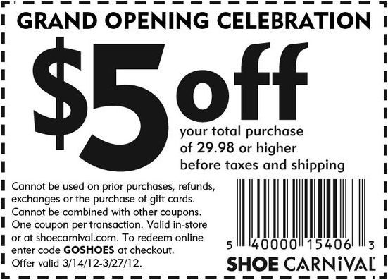 photo regarding Shoe Carnival Coupon Printable titled $5 off at Shoe Carnival! #coupon CheckPoints Bargains