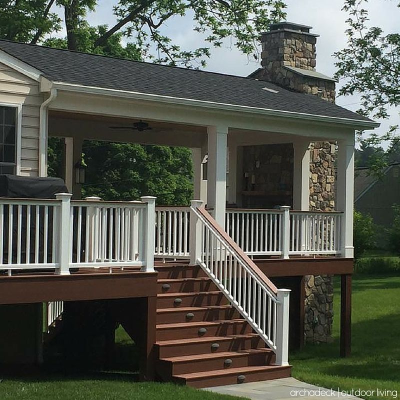 a gorgeous covered deck with an outdoor fireplace is a backyard rh pinterest com Small Covered Deck Outdoor Covered Deck Ideas