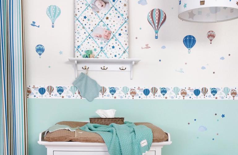 Babyzimmer Bordure Heissluftballons Mint Taupe Von Dinki Balloon Bei