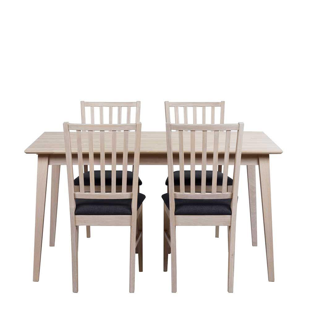 Esstisch mit Stühlen in Eiche Bianco Dunkelgrau ausziehbar (5-teilig ...