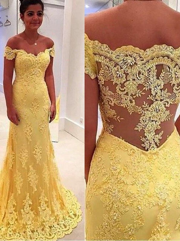 0f29b70ec6f Elegant Mermaid Yellow Lace Off Shoulder Long Prom Dress in 2019 ...