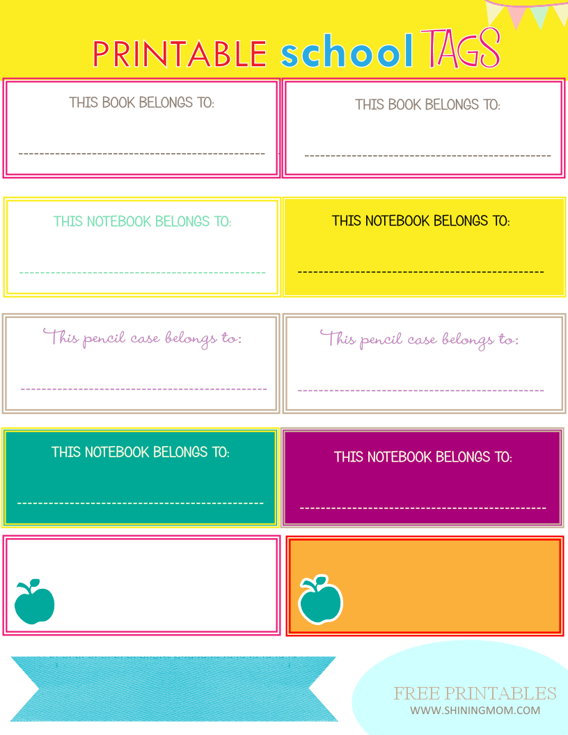 new project: back to school notebook and book labels | top free