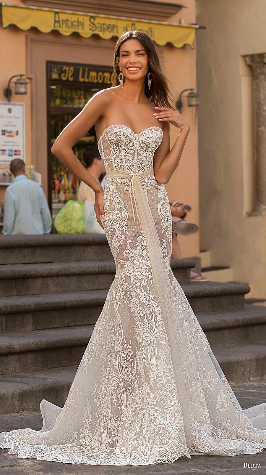 Berta Privee 2020 Wedding Dresses Amalfi Bridal Collection No 3 Wedding Inspirasi Wedding Dresses Romantic Strapless Lace Wedding Dress Trendy Wedding Dresses [ 1604 x 900 Pixel ]