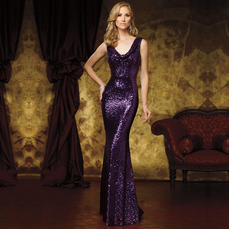 Find a shining sequin slim mermaid prom dress fashion v neck purple