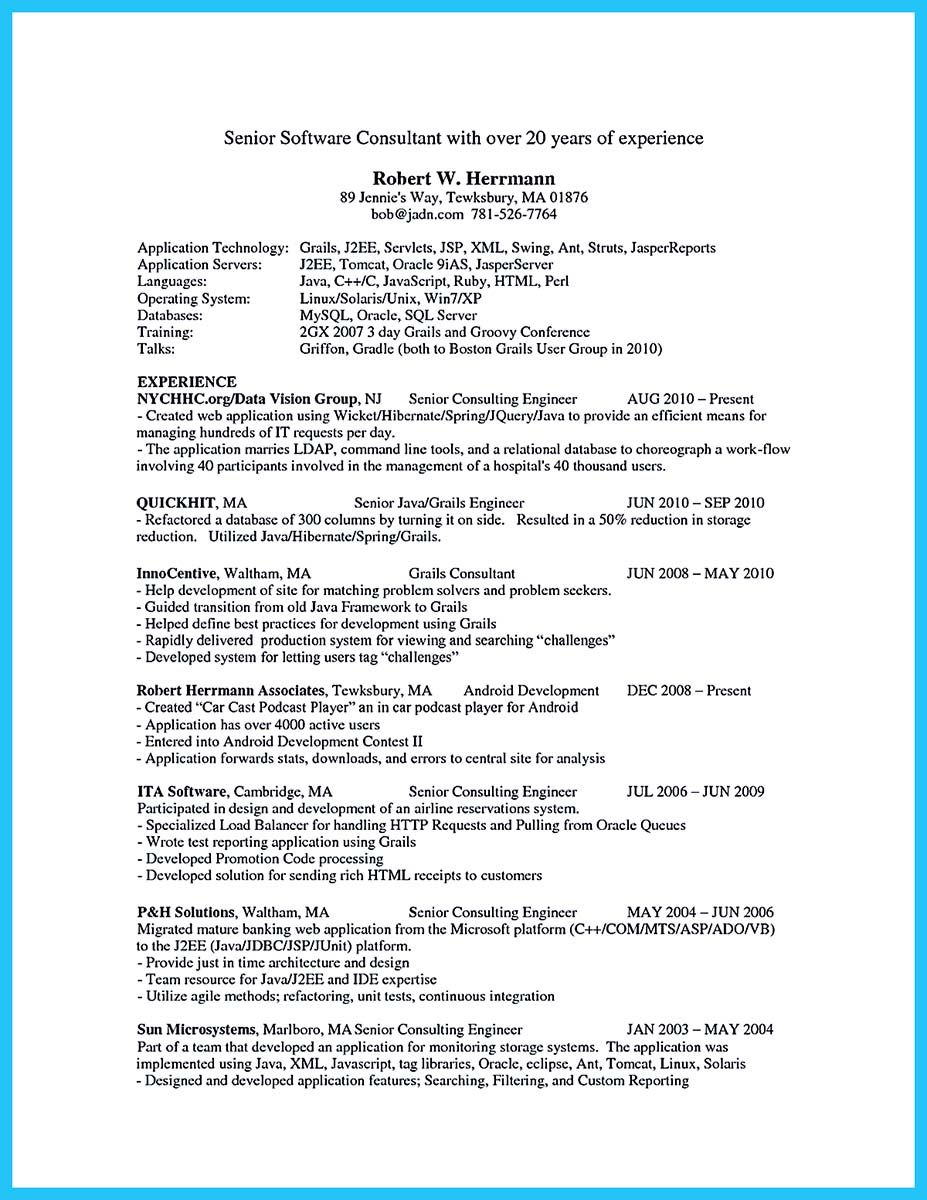 Senior Software Engineer Resume If You Have Experience In Application Development And You Want To
