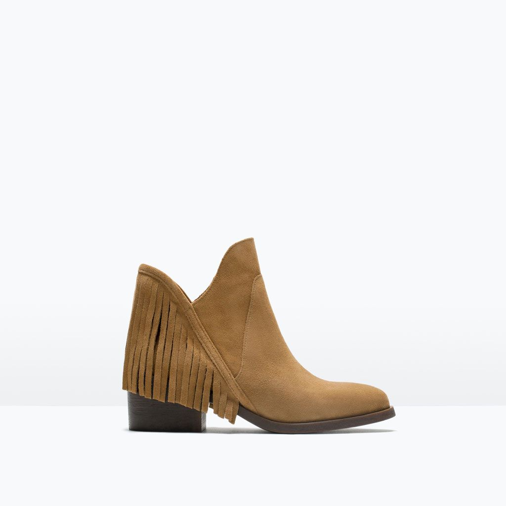 Image 1 of LEATHER FLAT BOOTIE WITH FRINGE from Zara