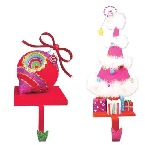$54.99-$59.99 Hang your stockings where Santa is sure to find them on these Glitterville stocking holders. Each is flocked and glittered and the tree has maribou trim too!