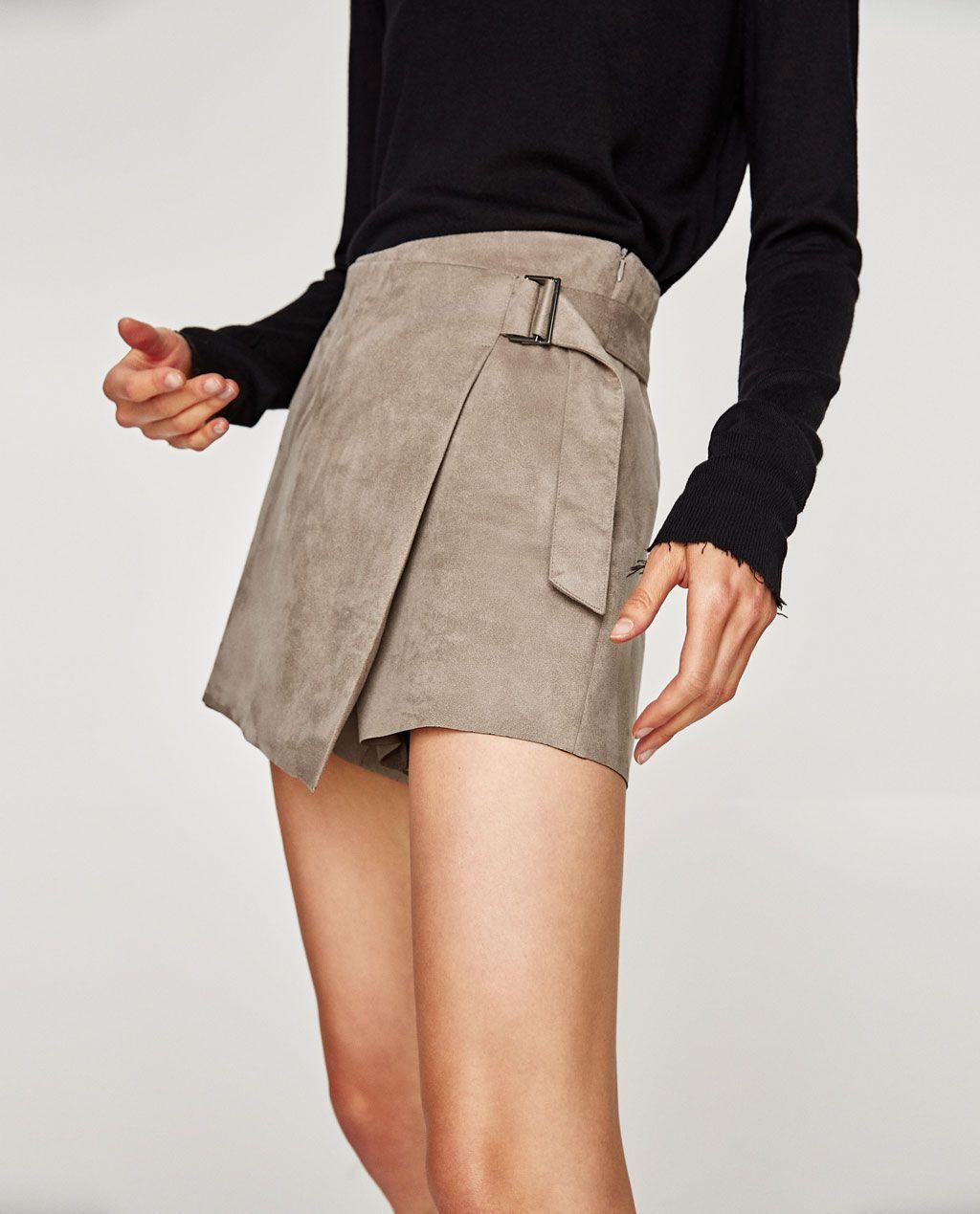 jupe short effet daim tout voir jupes femme zara france shopping pinterest jupe femme. Black Bedroom Furniture Sets. Home Design Ideas