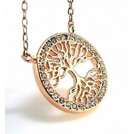 61cc7144f6dc Gargantilla árbol de la vida en plata de ley chapada en oro rosa po ...