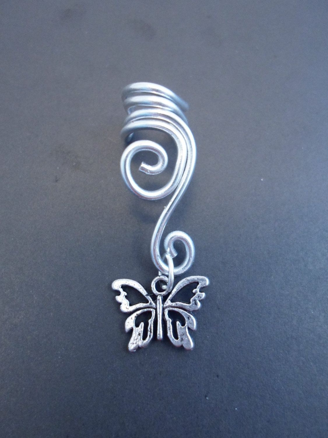 Double Spiral Ear Cuff With Butterfly In Wire Wrapped Aluminium (wire  Wrapping Aluminum)