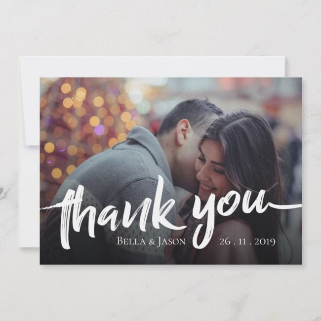 Brush Font Photo Wedding Thank You Card