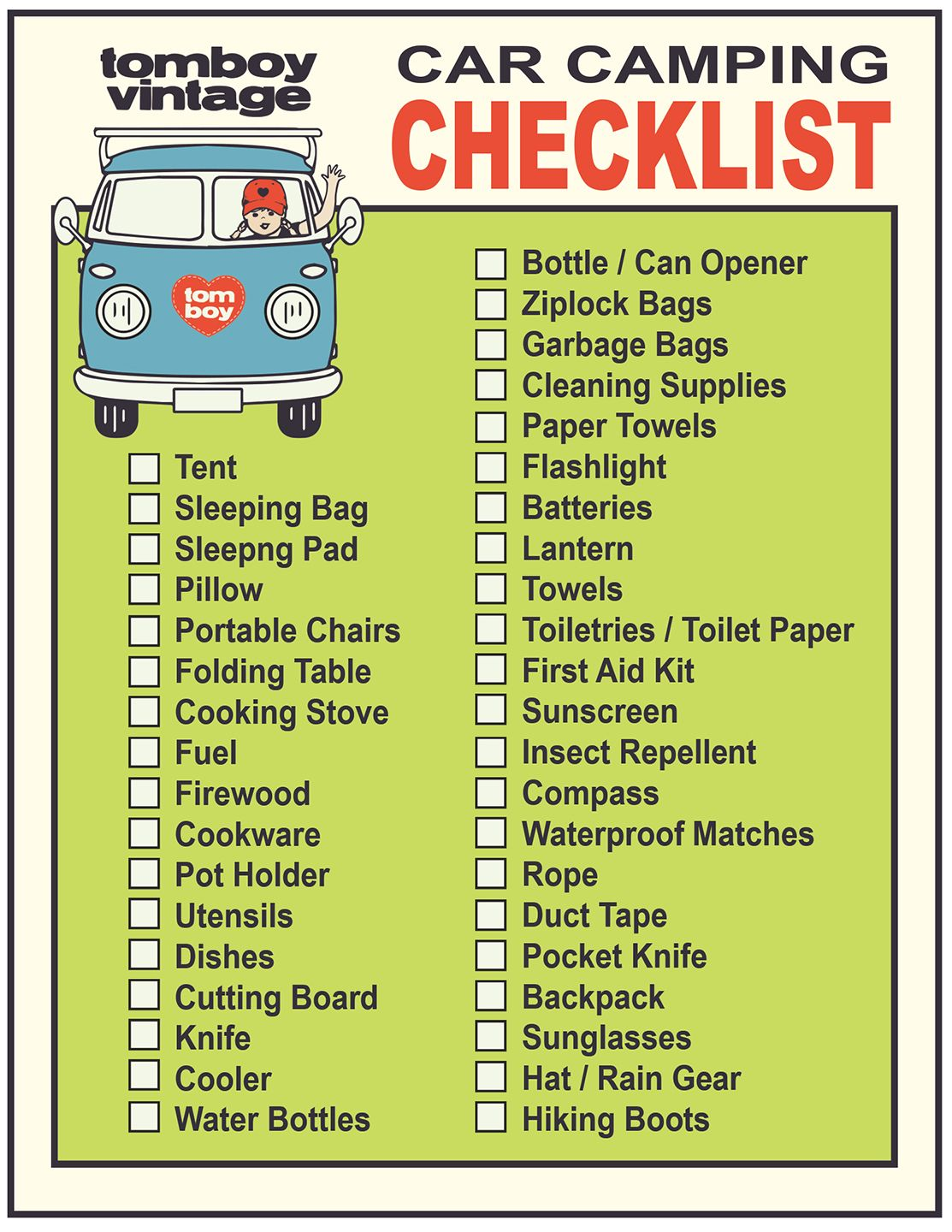 Car Camping Checklist  Camping Checklist Camping List And