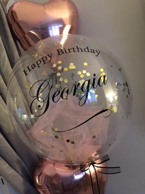Personalised Bubble Balloon Rose Gold Amp Pink Tulle